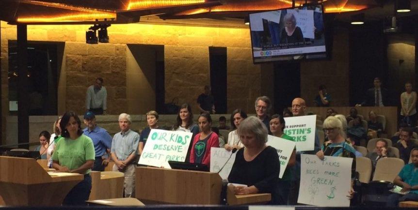 Austin park advocators at Austin city council budget meeting