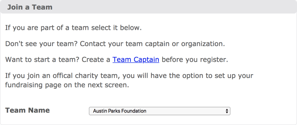 Select APF for your team during marathon registration