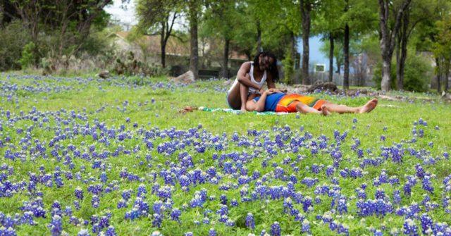 couple with austin bluebonnets
