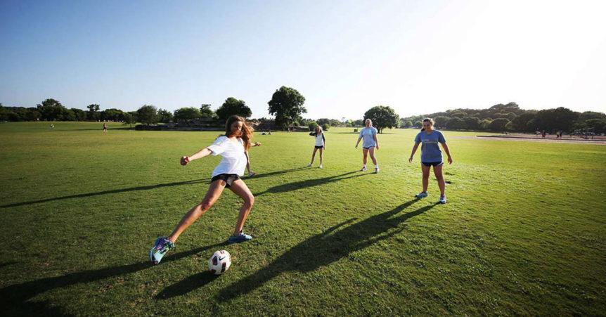 girls playing soccer at zilker park