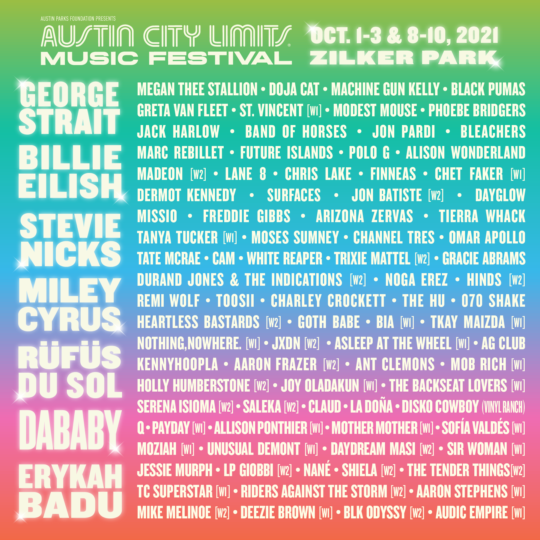 acl music festival lineup 2021